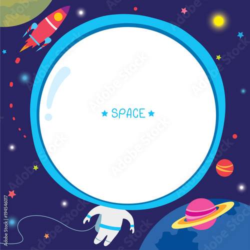 Illustration vector of astronaut template design with rocket moon ...