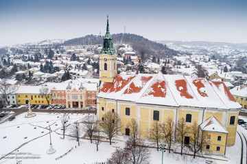 Bird eye view of Szekszard at winter