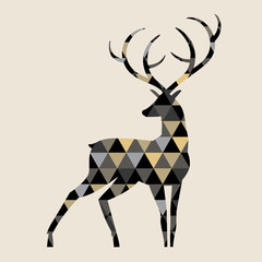 deer/Silhouette of a deer with a triangular structure.