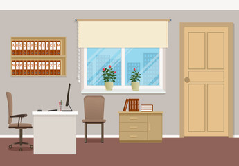 Business interior design with furniture and window. Office workspace organization. Workplace without employee.