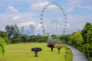 Сингапур. Вид на колесо обозрения из парка Gardens by the Bay.
