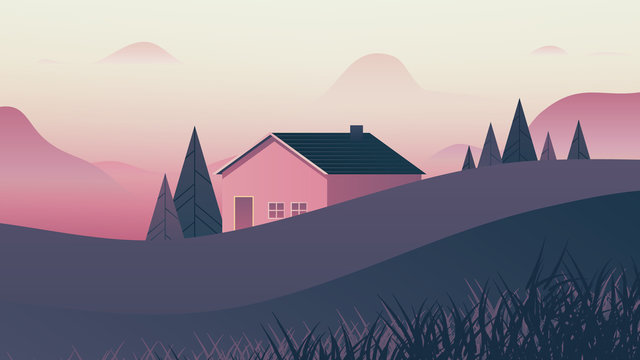 Small house behind small hills landscape, pink and purple tones