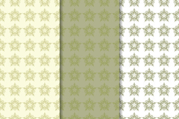 Olive green floral seamless ornaments. Set of vertical patterns