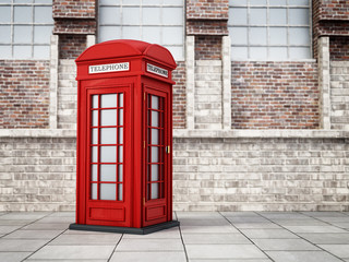 Red British phone booth in the street. 3D illustration
