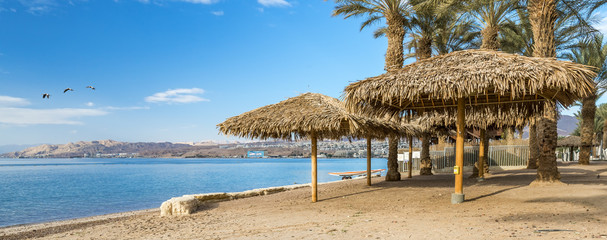 Morning at the central public beach in Eilat - famous resort city in Israel