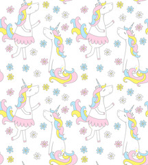 Cute unicorn seamless pattern with flowers, vector