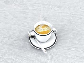 Pausa caffè, tazzina di caffé, colazione, pausa lavoro, break quotidiano, 3d rendering