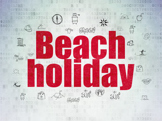 Travel concept: Painted red text Beach Holiday on Digital Data Paper background with  Hand Drawn Vacation Icons