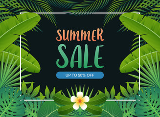 Summer sale background banner with green exotic palm leaves and tropical plants, summer sale concept. Vector illustration
