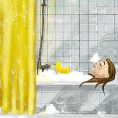 Девушка в ванне с уточкой