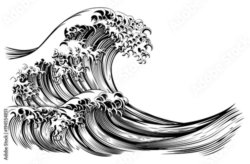 great wave japanese style engraving stock image and royalty free rh eu fotolia com japanese waves clipart style Cartoon Waves Clip Art