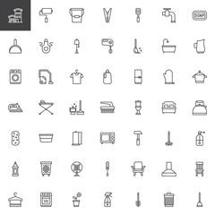 Household elements outline icons set. linear style symbols collection, line signs pack. vector graphics. Set includes icons as house, home, washing machine, vacuum cleaner, fridge, microwave oven, mop
