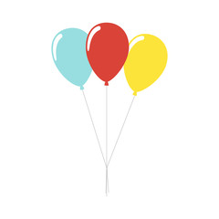 Balloons isolated icon on white background. Three colorful balloons. Decoration for holidays and birthday party. Flat style vector illustration.