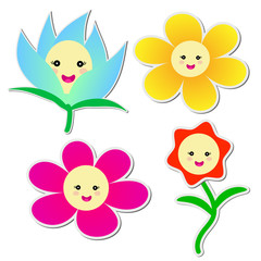 Cute flowers sticker on white background