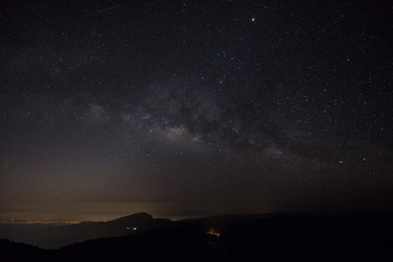 Milky way and Zodiac light on night sky above Doi Inthanon National park. Chiang mai, Thailand.