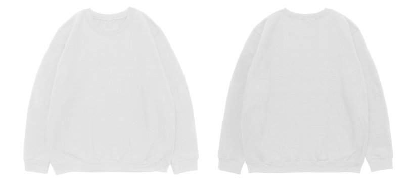 Blank sweatshirt color white template front and back view on white background