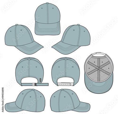 Baseball cap Denim 2018 vector illustration flat sketches template ...