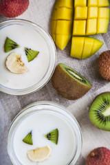 Yogurt with tropical fruits