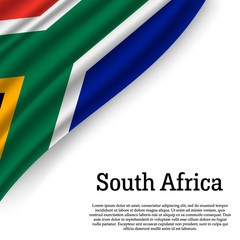 flag South Africa on white background