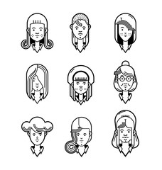 Set of cartoon characters. Cool avatars. Line icons. Flat design. different age woman characters. Funny bright vector illustrations. Isolated on white. Funny emoji
