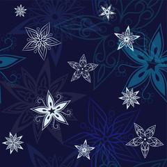 Stars background, night sky and stars seamless vector pattern. Stars on the night sky. Vector illustration.