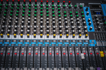 Sound control panel or mixing console