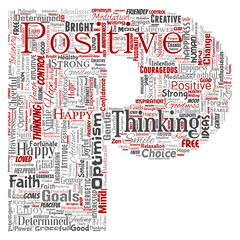 Vector conceptual positive thinking, happy strong attitude letter font P word cloud isolated on background. Collage of optimism smile, faith, courageous goals, goodness or happiness inspiration