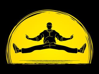 Dancer, Hip hop, Street Dance, B Boy  Dance action designed on moonlight background graphic vector.