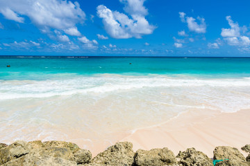Crane Beach - tropical beach on the Caribbean island of Barbados. It is a paradise destination with a white sand beach and turquoiuse sea.