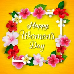 International Happy Women's Day 8 March floral greeting card on yellow background