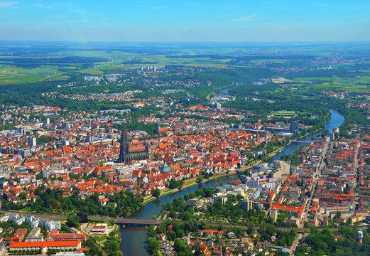 Aerial view of Ulm Minster (Ulmer Münster), Danube river and Ulm, south germany