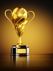 Gold trophy as championship award, football winner cup with golden soccer ball on yellow background