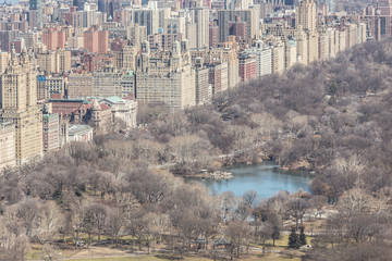 Panoramic elevated view of Central Park and Upper West Side in Winter. Manhattan, New York City, USA