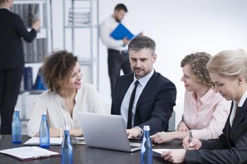 Team working on presentation