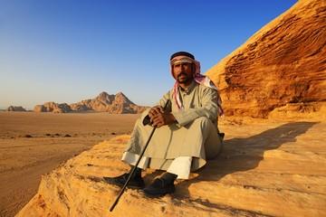Bedouin looking at Wadi Rum, Jordan, Asia