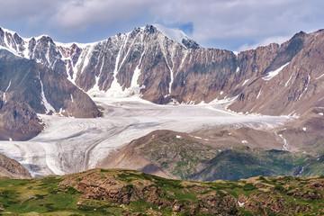 glacier mountains snow summer clouds
