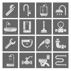 Plumbing and plumbing, icons, white, gray, pencil hatching, vector. Plumbing tools and spare parts. Square icons. Vector clip art. Hatching with a white pencil on a gray field. Texture simulation.