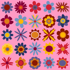 Set of colorful flowers in cartoon style, vector