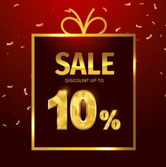 Sale discount 10 percent in gift box. Vector Low polygonal font. Special offer sale gold tag isolated vector. Discount offer price label, symbol for advertising campaign on shopping day.