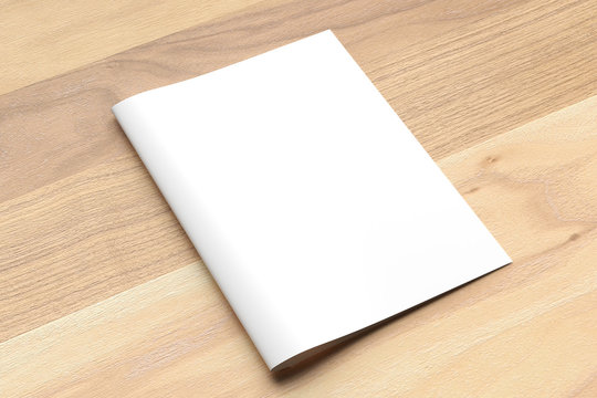 Blank Bi fold A4 size brochure mock up on wooden background. 3D illustrating.