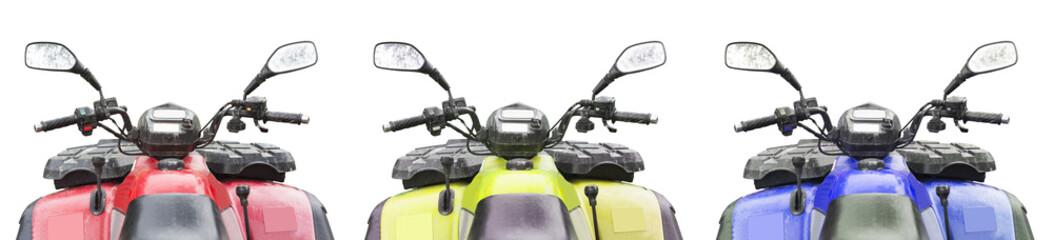set of three atv quad bike isolated on white background