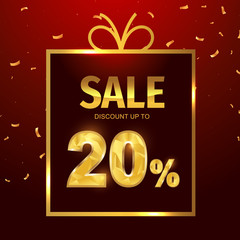 Sale discount 20 percent in gift box. Vector Low polygonal font. Special offer sale gold tag isolated vector. Discount offer price label, symbol for advertising campaign on shopping day.