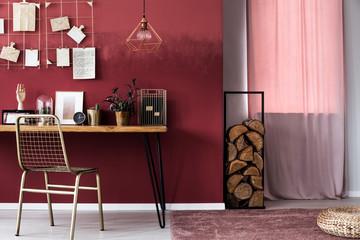 Pink woman's workspace interior