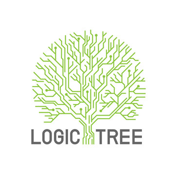 Green abstract line eletric logic tree sign logo vector creative design