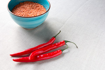 Indian Oriental cuisin lentils vegetarian red hot chilli peppers food health background