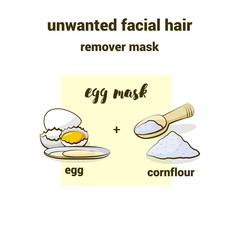 Egg mask for unwanted hair removal on the face. Eggs and corn flour illustration for accompanying text in the blog, magazines. Natural cosmetics and skin care.