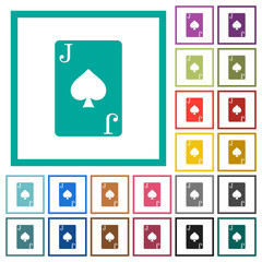 Jack of spades card flat color icons with quadrant frames