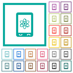 Mobile science flat color icons with quadrant frames