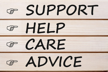 Support Help Care and Advice Concept