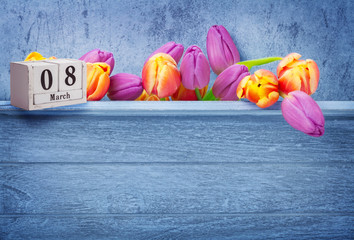 March 8, international women's day, greeting card with tulips and calendar